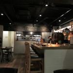 toribudou - お店はカウンターとテーブル席、私逹は入り口近くを貸し切って宴会です。