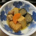 150306857 - きょうの煮物三点盛は、茄子、厚揚げ、鶏大根。味しみしみ~♪