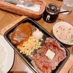 オープンキッチン然 - ハンバーグ&ステーキセット、納得セット(ごはん、サラダ)