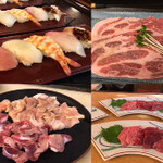 一樂鮨 - 陶板焼コース3850円焼肉とお寿司のコラボコースです