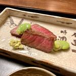 割烹 柊 - 強肴:黒毛和牛とそら豆様