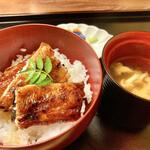割烹 柊 - 御食事②:吉田鰻丼&なめこの味噌汁、香の物様