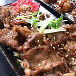 脇田屋 - スタミナ焼肉皿(単品)は薄切りカルビが150g入り。