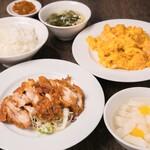 中華料理 成都 - 油淋鶏と海老玉セット