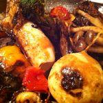 ラ ファーメ - 北海道産小ヤリイカと飛騨野菜の炭火焼き