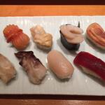 羽田 寿司幸 - 魚介づくし 赤貝、赤貝ひも、帆立、まぐろ赤貝、小柱、ほっき貝、鳥貝、つぶ貝、汁物