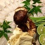 いはら田 - 夏から秋にかけてお出ししている鱧しゃぶ。鱧の骨とお昆布でとったお出汁でお召し上がり下さい。
