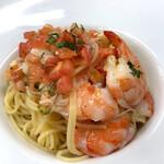 ツカサ - 海老とずわいカニ、トマトの冷たいスパゲッティ
