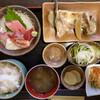 めのじや - 料理写真:「Aセット1 刺身と焼き魚定食(勘八カマ)」@1550+「ご飯大盛り」@50