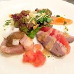 ファリンヌ・ドール - 前菜『季節の盛り合わせ。初秋の恵みと京野菜のサラダ』