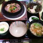 食事処 槐 - 料理写真:あいがも釜めし(¥1000)。 あいがものお肉は初。