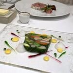 150559136 - プレスした20種類の季節野菜のテリーヌ                       友人は長期熟成をかけた 田舎風テリーヌ