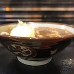 150627876 - カレーうどん 玉子の天ぷら  正面から