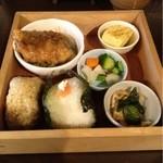 15063289 - ランチセット(700円):玄米/クリームチーズと明太子のおにぎり、鯖味噌