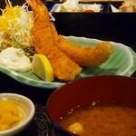 潮浜 - エビフライ定食(上)