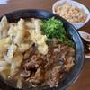 土俵うどん - 料理写真:肉ごぼう天うどん、かしわ飯