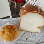 コイガクボ - 米粉シュークリームと米粉の角食。角食はずっしりしていて、頭が重たそう。