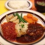 キッチンABC - 1番 若鶏のチーズカツレツ 2色ソース デミグラスソース、トマトソース (ライス、スープ付き) ¥800
