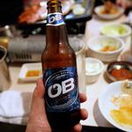 韓豚屋 - 韓国OBビール、560円。