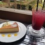 150728649 - ベイクドチーズケーキ、ブルーベリージュース