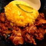 ミトチャカリー - 濃厚エビ&チキンカレーヌードルの麺を食べ終えたら、小ライス(ターメリックライス)をぶち込んで食べるがいいさっ!!