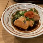 天ぷら 日本料理 あら川 - 好物あん肝。ポン酢の風味が強いのが好みだけど、こちらは醤油出汁を感じる。あん肝本体は香り高くふんわりと、今のご時世じゃなかったらこれと日本酒で楽しみたい。