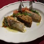 ORIENTAL KITCHEN ITALIANA - 季節の鮮魚のグリル〜特製ソースで 北海道産の桜鱒でした こちらも焼きがいい感じでした