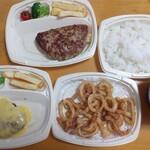 びっくりドンキー - チーズハンバーグ、ポテサラバケットバーグ、ザクザクいか唐揚げ、カレーソース