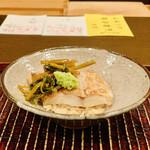 おが和 - ☆のどぐろ(山口・萩)の酢飯。花山葵の漬け物と本わさび添えて。