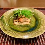 おが和 - ☆淡竹とアンコウの肝焼き(茨城産)。こごみと木の芽を添えて。