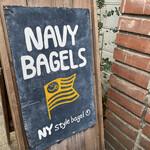 ネイビー ベーグルズ - 店頭の木製看板なり(°_°)