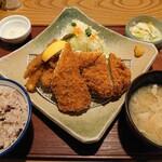 かつ敏 - (2021/2月)ホッケかつとヒレかつ50gと野菜揚げ定食