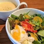 150835621 - サラダ&スープ(チーズメンチカツ トマトソース)