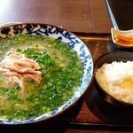 sapporosaifuujin - 青葱たっぷりコラーゲン鳥白湯麺、ライス付き、麺大盛