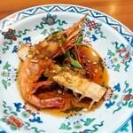 中国料理 仙ノ孫 - ⚫北海道甘海老香り揚げ 薬味ソース 海老の頭のミソがうまい