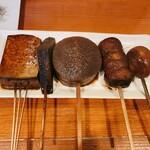 150879928 - 左から豆腐、こんにゃく、大根、里芋、玉子
