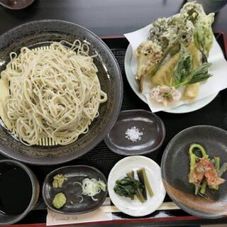 土里夢 - 料理写真:もり蕎麦大盛と天ぷら
