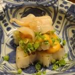 150910403 - タイラギ貝とミル貝のカラシ酢味噌がけ、のびる、ホワイトアスパラガス