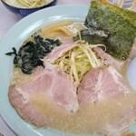 つばき食堂 - ネギチャーシュー麺(脂多め)&ネギ飯