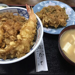 ほたて - 上天丼(海老のかき揚げ追加)