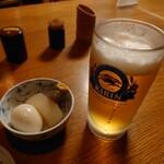 鳥栄 - 2021年3月 生ビール 600円+税とお通し