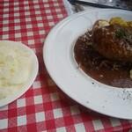 大衆ビストロ原田屋 - 料理写真:手ごねハンバーグステーキに普通盛なライス