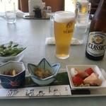 15105181 - サッポロクラシックビールとおつまみ4品