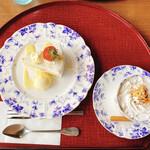ぷろばんす - 料理写真:風雅ケーキセット(いちごショート&カプチーノコーヒー)
