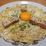 すぱげてぃ屋 - 料理写真:カルボナーラ、シングル(50g)大盛