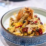 中国意境菜 白燕 - 麻  海老 芽キャベツ 長芋