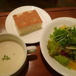 15107081 - ランチのスープ&サラダ&フォカッチャ