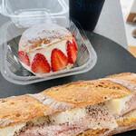 151169201 - バケットサンド  ハムとカマンベールチーズ&苺のマリトッツォ&アイスコーヒー