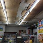 漁港ストア - 雑貨売り場の天井には、津波をの痕跡が残っていました