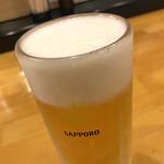 くまねこ食堂 - 生ビール(黒ラベル) キンキンに冷えすぎて、ホップの風味が消えてるww